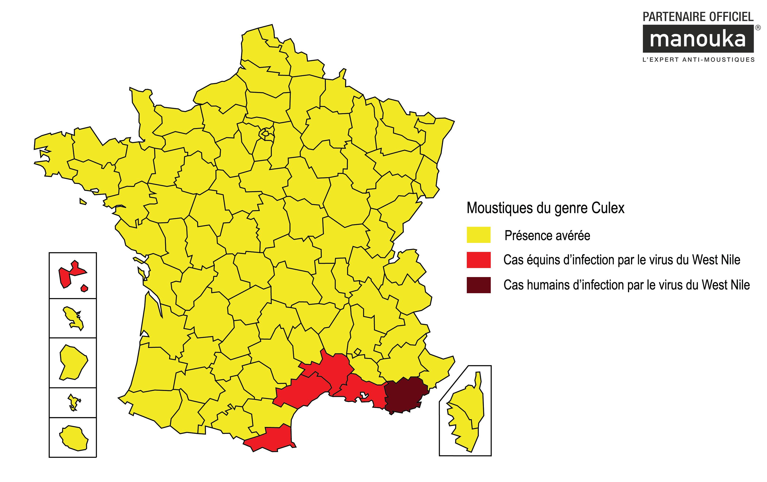 Carte de France 2015 des moustiques Culex et du Virus du Nil occidental